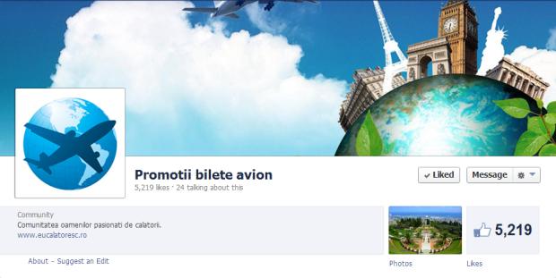 promotii, bilete avion, Facebook