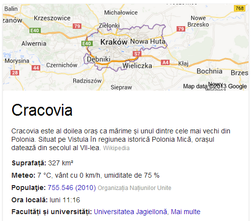 google, cracovia, wikipedia, SERP