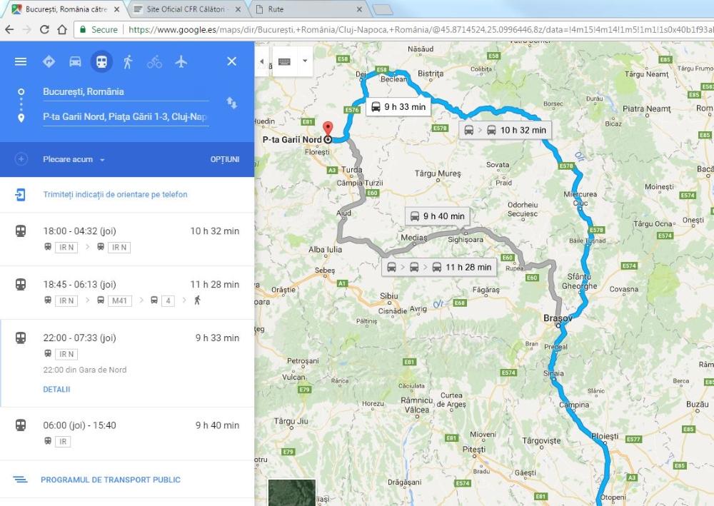 google maps, mersul trenurilor cfr