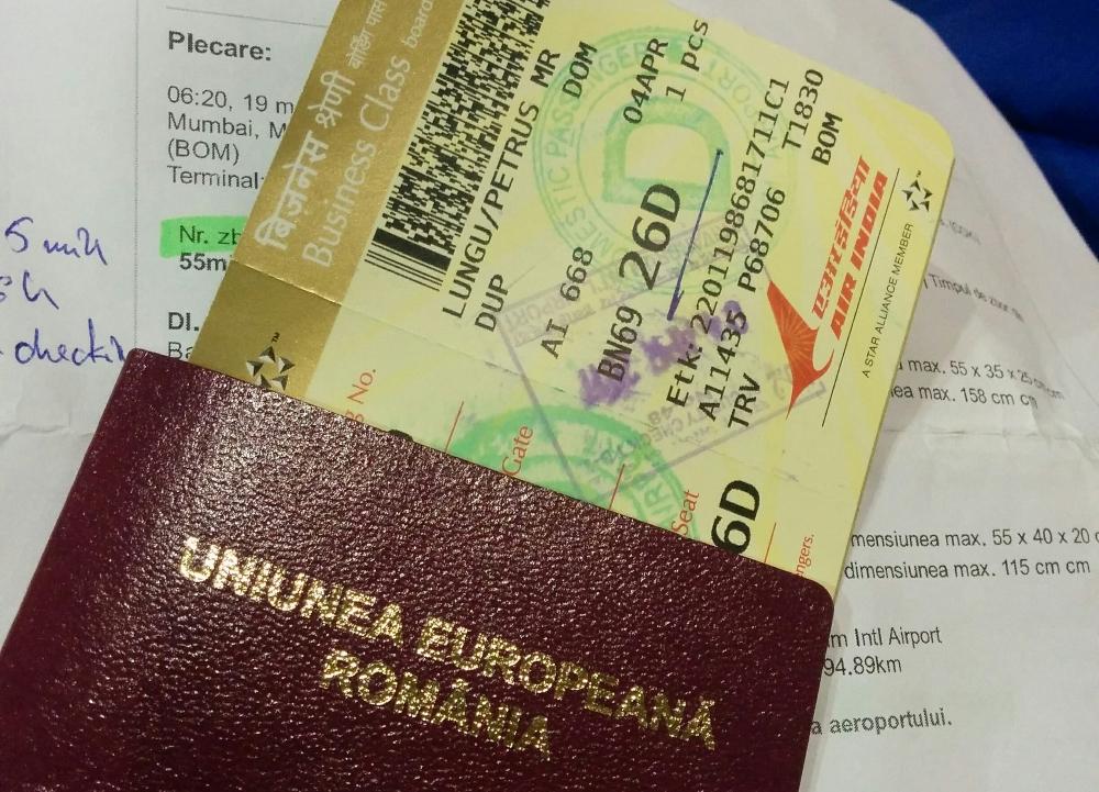Imigrari, Mumbai, pasaport, passport, bilete avion, tickets