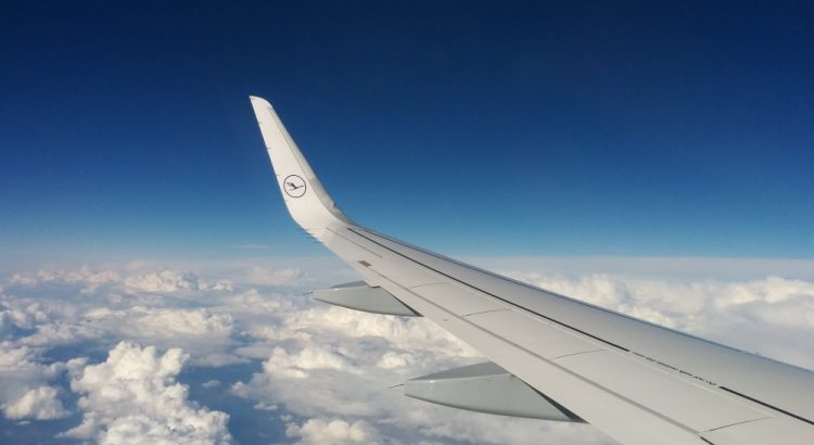 Lufthansa, Boeing 747 wing, clouds, sky