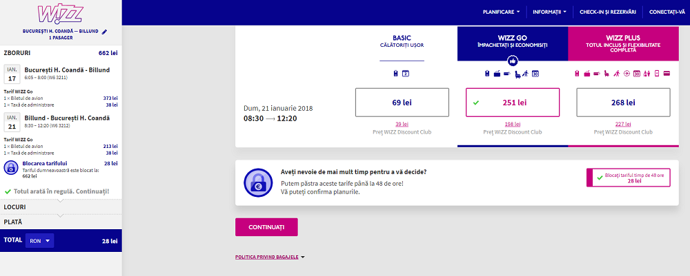 Wizz Air, Fare Lock