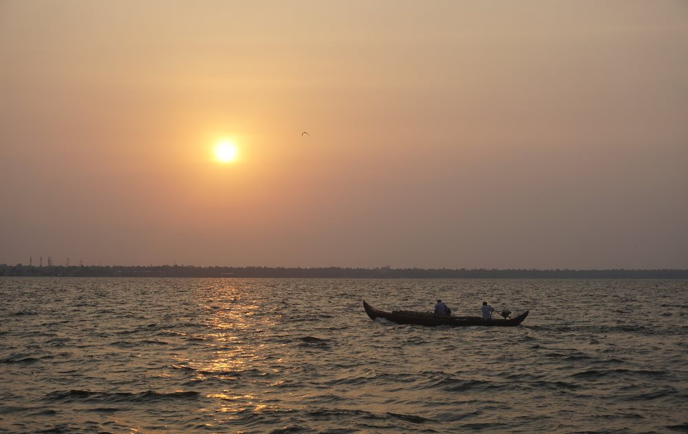 kerala backwaters, sunset, sundown