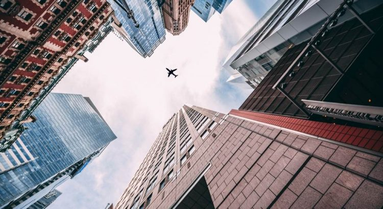 plane, buildings