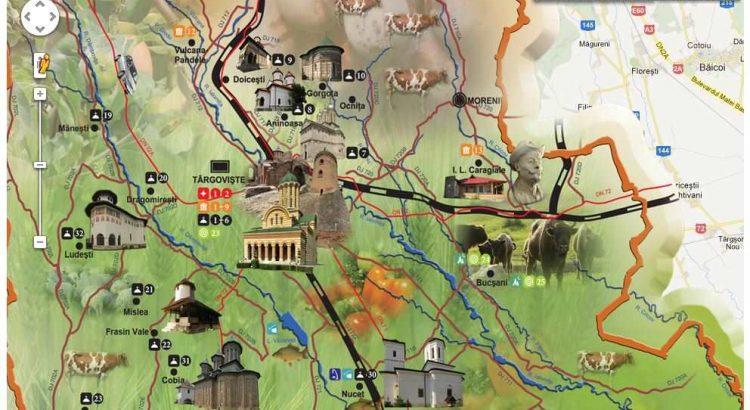 harta dambovita, harta obiective turistice